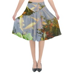 Koi Fish Pond Flared Midi Skirt