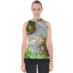 Koi Fish Pond Mock Neck Shell Top