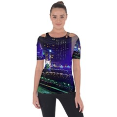 Columbus Commons Shoulder Cut Out Short Sleeve Top