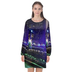 Columbus Commons Long Sleeve Chiffon Shift Dress