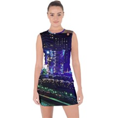 Columbus Commons Lace Up Front Bodycon Dress