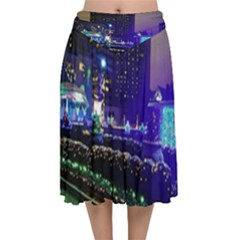 Columbus Commons Velvet Flared Midi Skirt