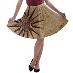 Vintage Compass A Line Skater Skirt by WensdaiAddamns
