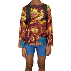 Dragon Lights Kids  Long Sleeve Swimwear