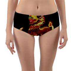 Dragon Lights Reversible Mid Waist Bikini Bottoms