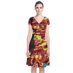 Dragon Lights Short Sleeve Front Wrap Dress