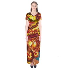 Dragon Lights Short Sleeve Maxi Dress