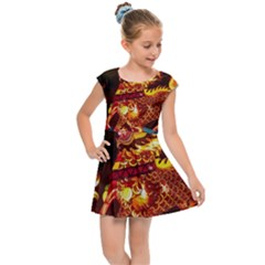 Dragon Lights Kids  Cap Sleeve Dress
