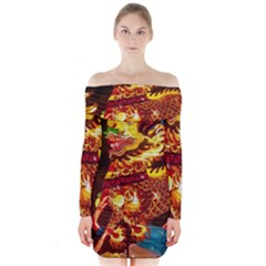 Dragon Lights Long Sleeve Off Shoulder Dress