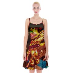 Dragon Lights Spaghetti Strap Velvet Dress