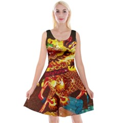 Dragon Lights Reversible Velvet Sleeveless Dress