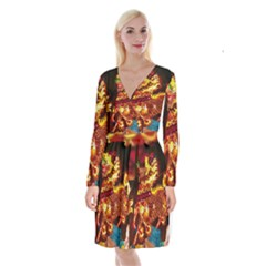 Dragon Lights Long Sleeve Velvet Front Wrap Dress