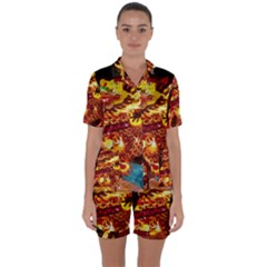 Dragon Lights Satin Short Sleeve Pyjamas Set
