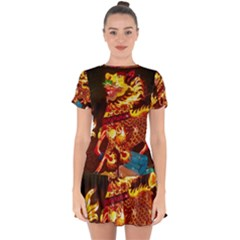 Dragon Lights Drop Hem Mini Chiffon Dress