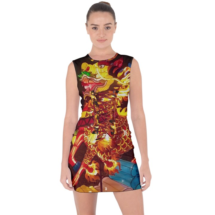 Dragon Lights Lace Up Front Bodycon Dress