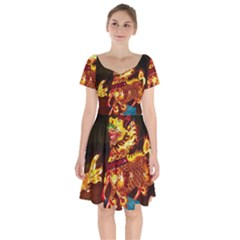 Dragon Lights Short Sleeve Bardot Dress