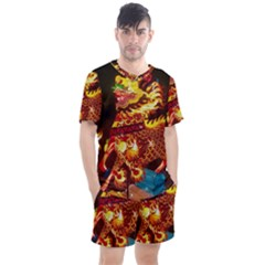 Dragon Lights Men s Mesh Tee And Shorts Set