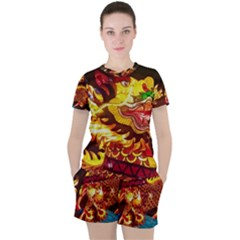 Dragon Lights Women s Tee And Shorts Set
