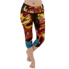 Dragon Lights Lightweight Velour Capri Yoga Leggings