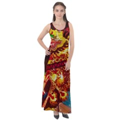 Dragon Lights Sleeveless Velour Maxi Dress