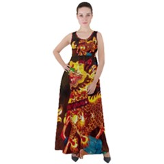 Dragon Lights Empire Waist Velour Maxi Dress