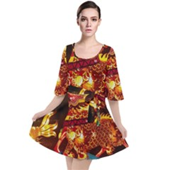 Dragon Lights Velour Kimono Dress