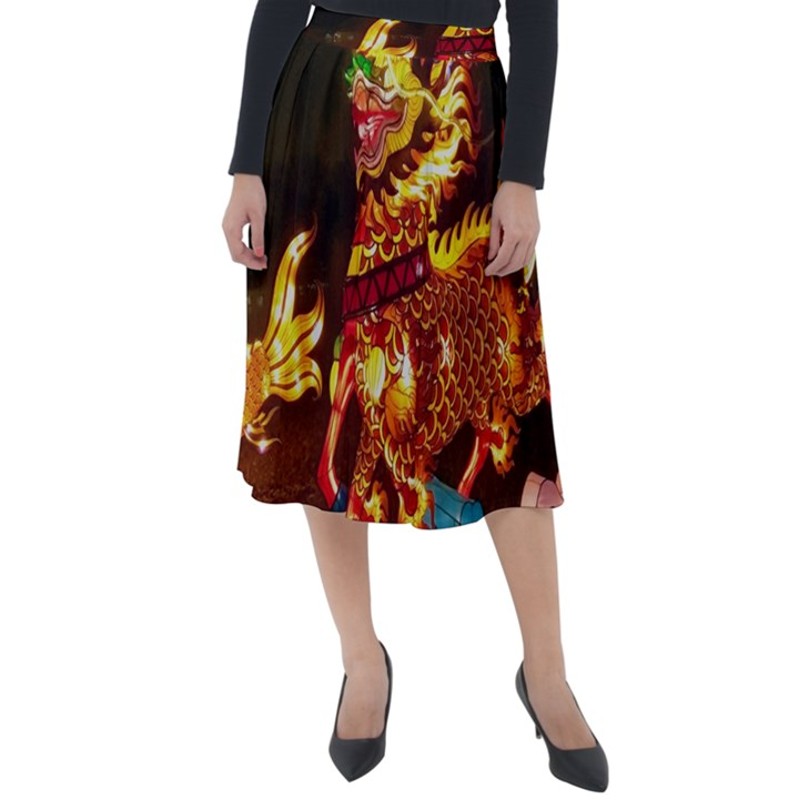 Dragon Lights Classic Velour Midi Skirt
