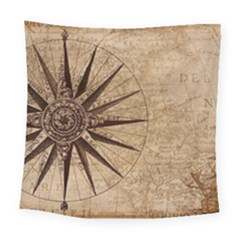 Vintage Compass Square Tapestry (large) by WensdaiAddamns