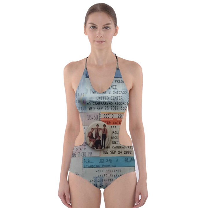 Concert Memorabilia  Cut-Out One Piece Swimsuit