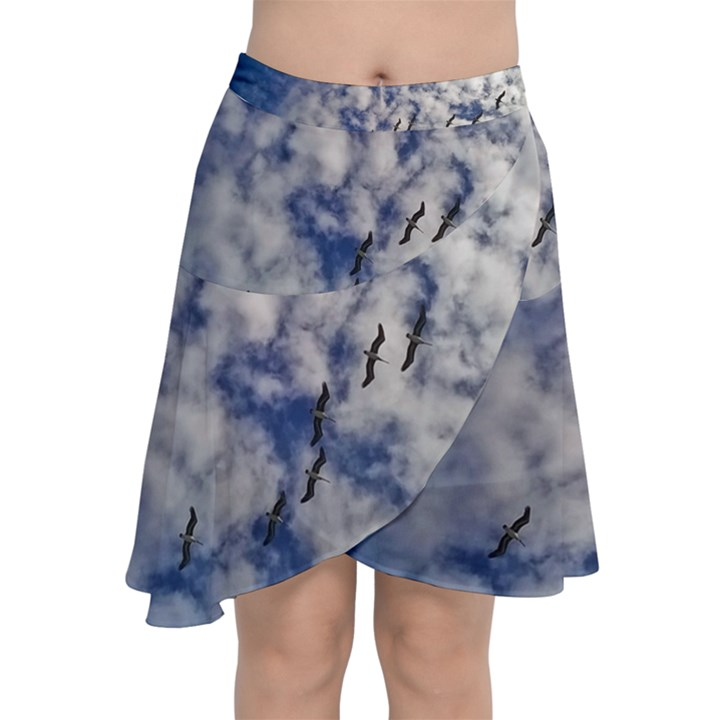 Pelicans In Flight Chiffon Wrap Front Skirt