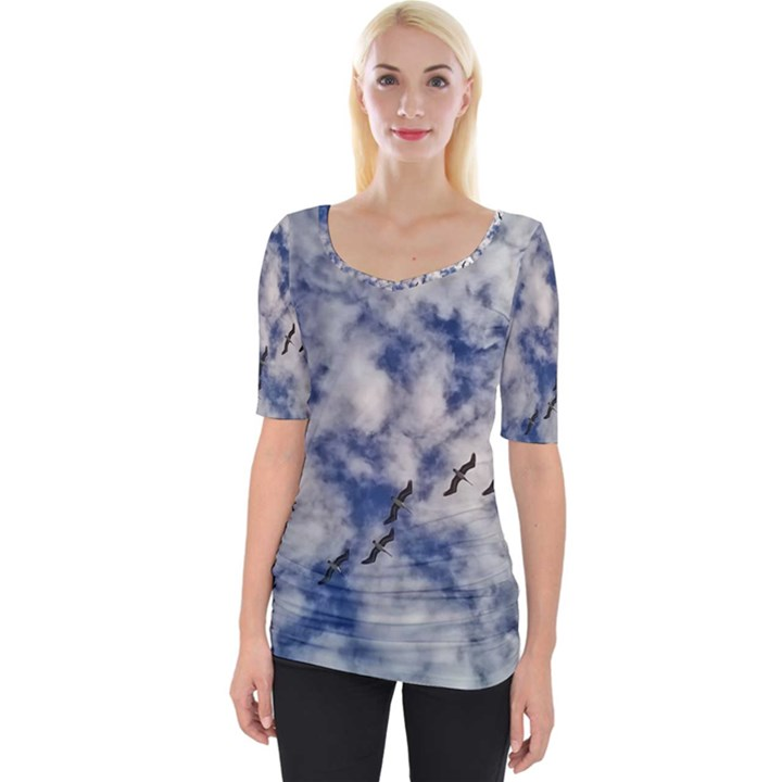 Pelicans In Flight Wide Neckline Tee