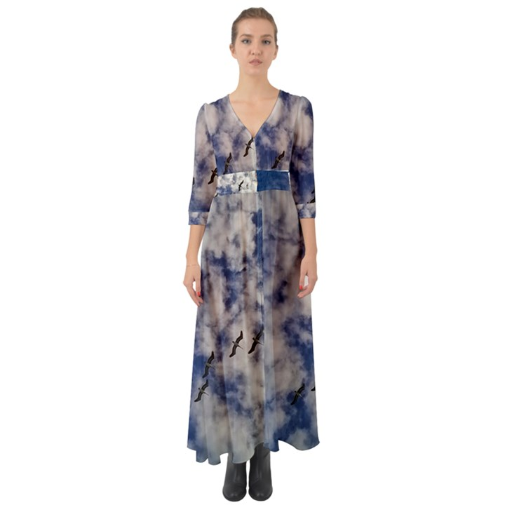Pelicans In Flight Button Up Boho Maxi Dress