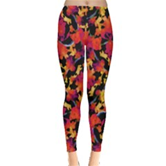 Red Floral Collage Print Design 2 Leggings