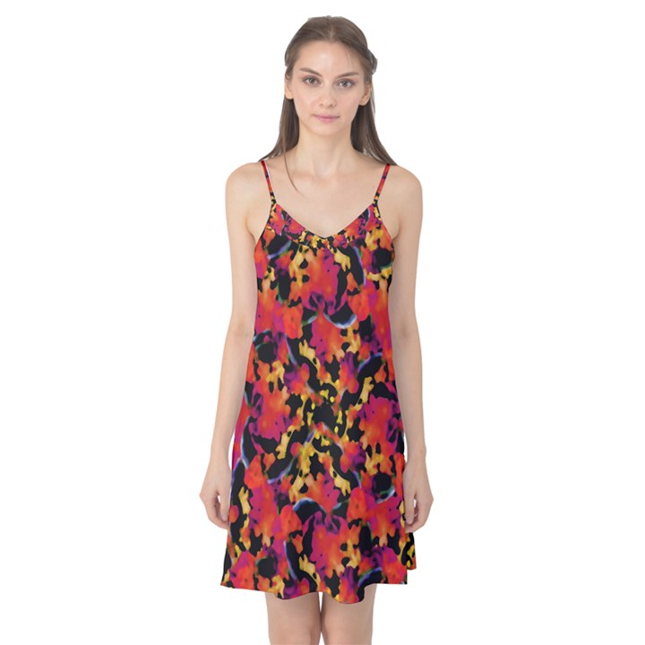 Red Floral Collage Print Design 2 Camis Nightgown
