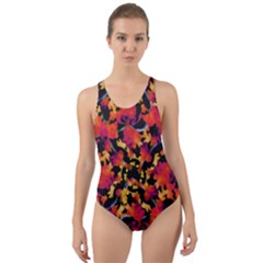 Red Floral Collage Print Design 2 Cut Out Back One Piece Swimsuit