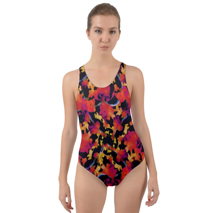 Red Floral Collage Print Design 2 Cut-Out Back One Piece Swimsuit