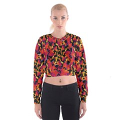 Red Floral Collage Print Design 2 Cropped Sweatshirt
