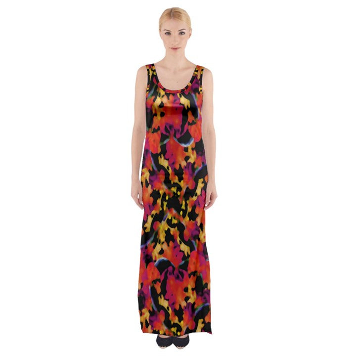 Red Floral Collage Print Design 2 Maxi Thigh Split Dress