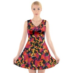 Red Floral Collage Print Design 2 V Neck Sleeveless Dress