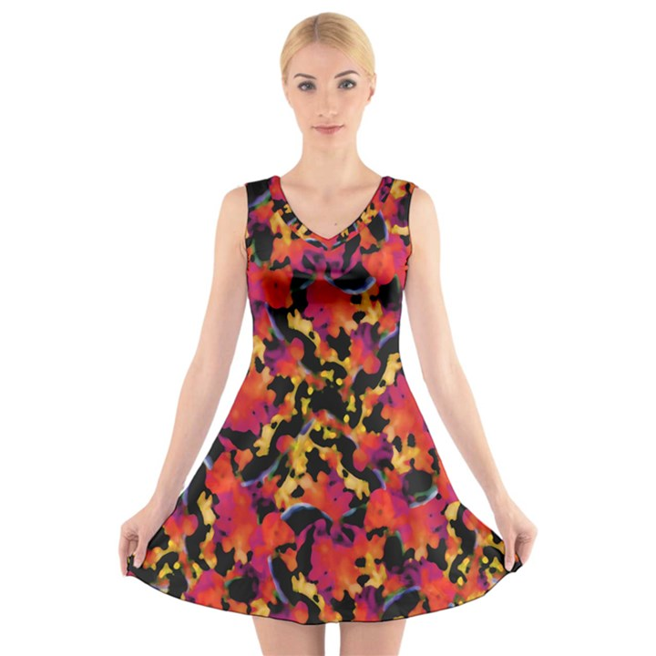 Red Floral Collage Print Design 2 V-Neck Sleeveless Dress