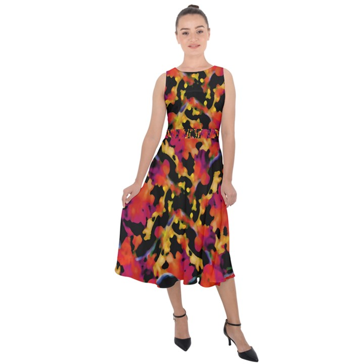 Red Floral Collage Print Design 2 Midi Tie-Back Chiffon Dress