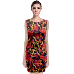 Red Floral Collage Print Design 2 Classic Sleeveless Midi Dress