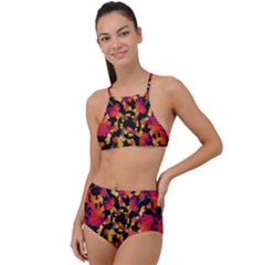 Red Floral Collage Print Design 2 High Waist Tankini Set