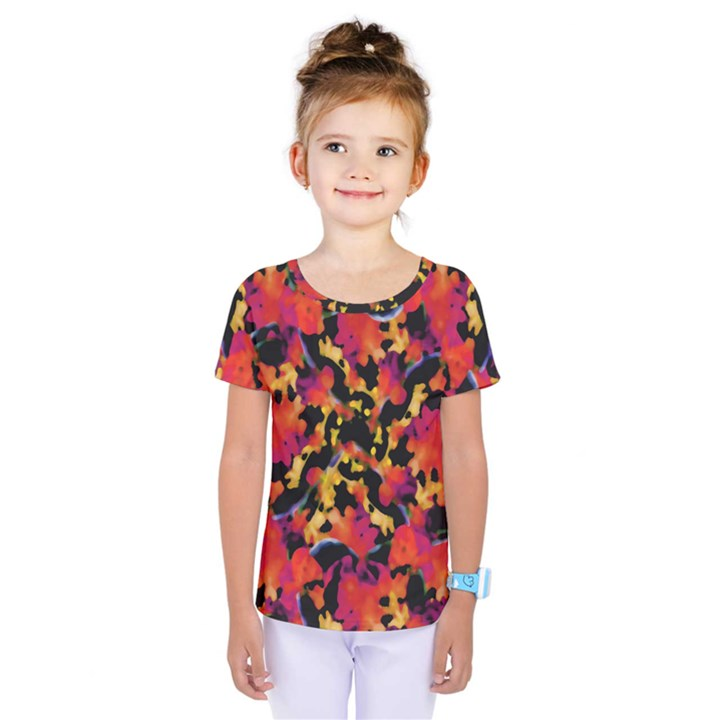 Red Floral Collage Print Design 2 Kids  One Piece Tee