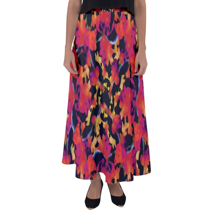 Red Floral Collage Print Design 2 Flared Maxi Skirt