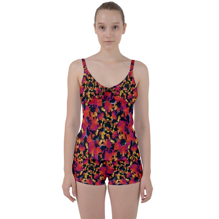Red Floral Collage Print Design 2 Tie Front Two Piece Tankini