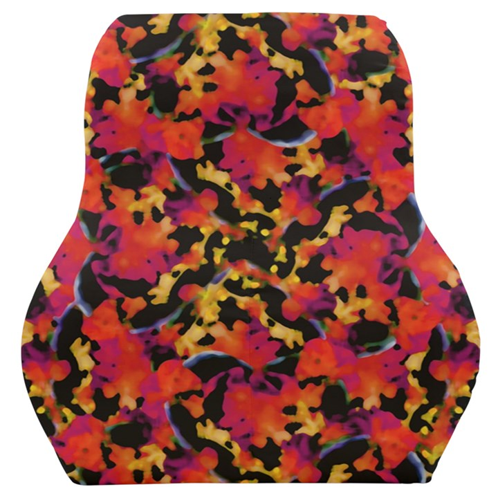 Red Floral Collage Print Design 2 Car Seat Back Cushion