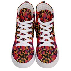 Red Floral Collage Print Design 2 Men s Hi Top Skate Sneakers