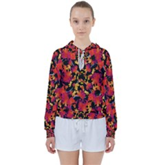 Red Floral Collage Print Design 2 Women s Tie Up Sweat