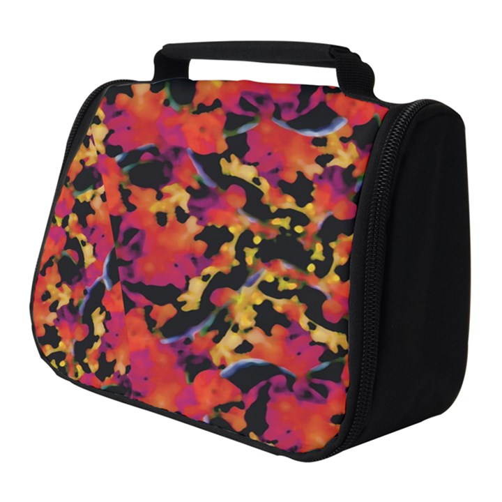 Red Floral Collage Print Design 2 Full Print Travel Pouch (Small)